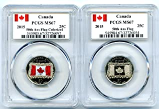 2015 Canada 50th Anniversary Canadian Flag Set Color Frosted Quarter PCGS MS67