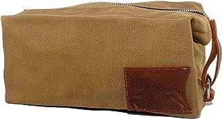 Toiletry Bag | Canvas & Leather Collection by Dapper Beardsman (Khaki)