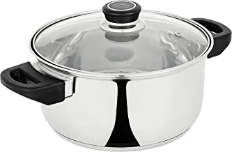 Amazon Brand - Solimo Stainless Steel Induction Bottom Dutch Oven with Glass Lid (20cm)