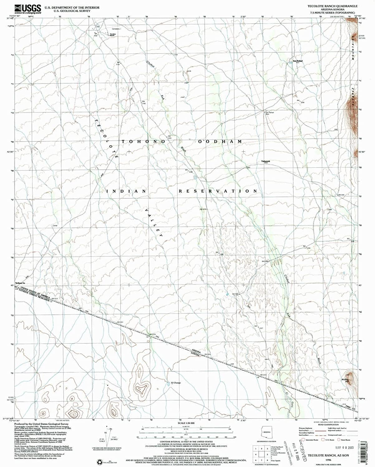 Tecolote Ranch AZ topo map, 1 24000 Scale, 7.5 X 7.5 Minute, Historical, 1996, Updated 2003, 26.8 x 21.5 in