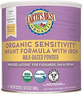 Earth's Best Sensitivity 温和性含铁婴儿配方奶粉 23.2盎司(4包)(包装可能会有所不同)