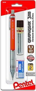 Pentel Arts GraphGear 300 Mechanical Pencil, (0.3mm) Extra-fine line, Orange Barrel, w/small block eraser + 1 lead tube