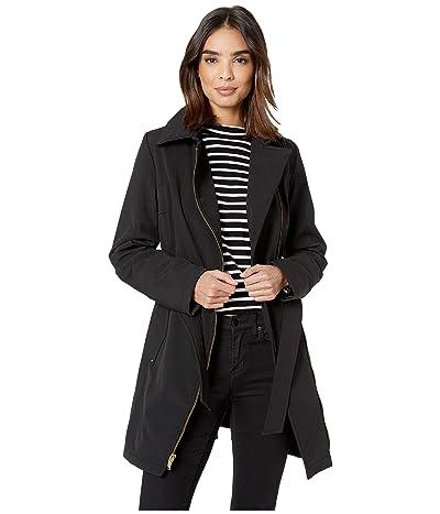 Via Spiga Asymmetrical Hooded Belted Soft Shell w/ PU Trim (Black) Women
