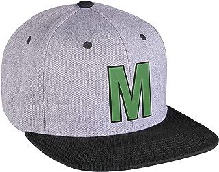 Original Snapback Custom Initial A to Z Letters Hat, Grey Black Cap Black Green