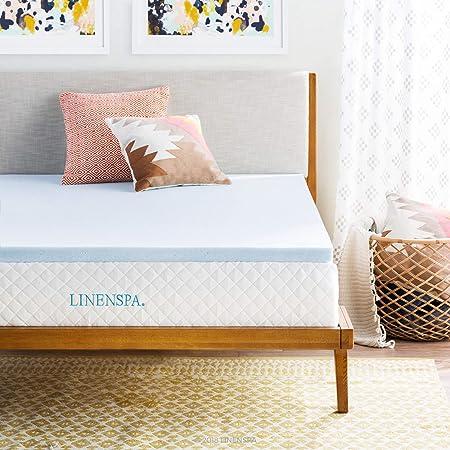 """LINENSPA 2"""" Gel Infused Memory Foam Mattress Topper, Twin XL, Blue"""