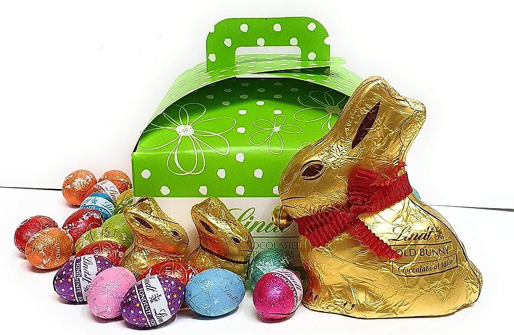 Composizione artigianale pasqua  26 ovetti assortiti ripieni lindt piu` 1 gold bunny e 2 mini  gold bunny