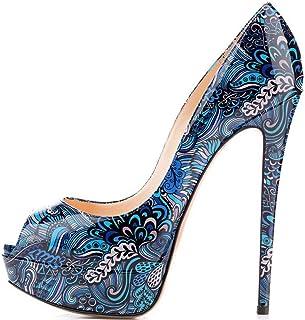 elashe- Scarpe da Donna - 15CM Scarpe col Tacco Peep Toe - Classiche Scarpe con Plateau