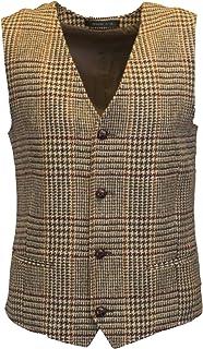 Walker & Hawkes - Mens Classic Scottish Harris Tweed Overcheck Country Waistcoat - Desert Tan - 44