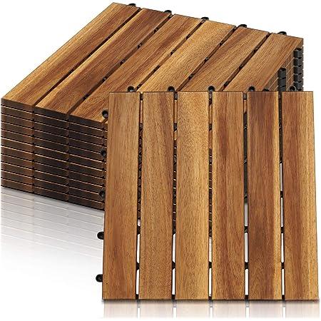 Drainage Garten Klick-Fliese Bodenbelag Aufun Holzfliesen Balkon 30 x 30 cm Akazien-Holz Terrassenfliese Balkonfliesen Klickfliese 11 St/ück Modell A: 1m/²