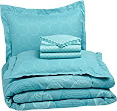 AmazonBasics 7-Piece Bed-in-A-Bag, Full/Queen, Industrial Teal (Includes 1 bedsheet, 1 Comforter, 4 Pillowcases, 1 Fitted Sheet, Blue)