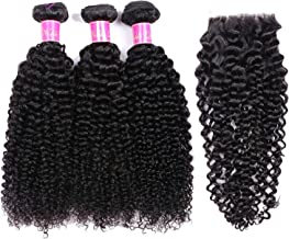 Brazilian Hair Bundles With Closure Curly Bundles With Closure Human Hair Bundles With Closure Non Remy Hair,20 22 24 +18Closure,Natural Color,Middle Part