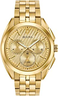 Men's 45mm CURV Collection Stainless Steel Goldtone Chronograph Watch
