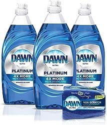 Dawn Dish Soap Platinum Dishwashing Liquid + Non-Scratch Sponges for Dishes