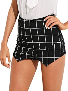 Women's Mid Waist Slim Fit Overlap Front Plaid Print Mini Skirt Shorts Skort