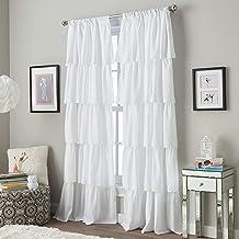 Curtainworks Flounced Ruffle Rod Pocket Curtain Panel, 63-inch, White