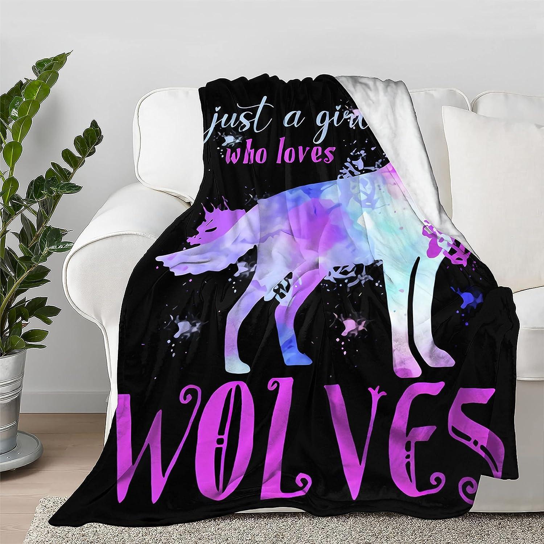 売り出し Just 誕生日 お祝い A Girl Who Loves Wolves Throw Blanket Flann Bedspread Quilt