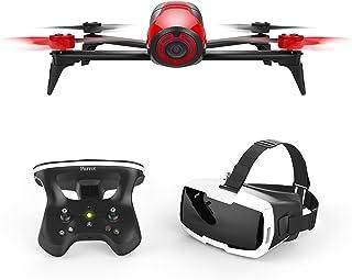 Parrot BEBOP 2 FPV - Dron cuadricóptero (Full HD 1080P 14 Mpx 60 Km/h 25 minutos de vuelo 2 Km de alcance 8GB) + Mando Skycontroller 2 + Gafas Cockpitglasses color rojo