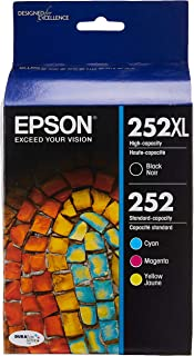 Best Epson 252XL/252 High-Yield Black And Standard-Yield Cyan/Magenta/Yellow Ink Cartridges, Pack Of 4 (Model T252XL-BCS) Review