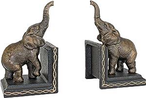 Design Toscano SP2869 Triumphant Elephant Cast Iron Sculptural Bookend Pair, gold