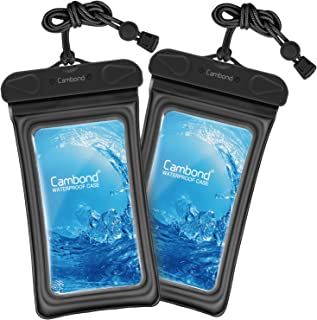 Water Proof Cell Phone Pouch, Universal Waterproof Phone Case, 100ft IPX8 Waterproof Bag, Anti-break Lanyard, Floating Waterproof Pouch for iPhone X, 8, 8P, 7, 7P, Device up to 6 inches(2 Pack, Black)