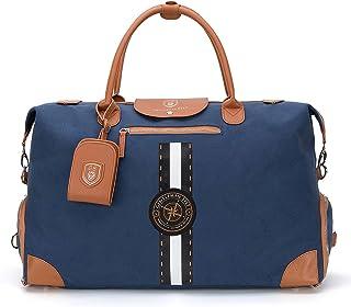 GENTLEMAN SYLT Reisetasche mit Notebookfach, modischer Weekender, Sporttasche mit Schuhfach, Dufflebag 42-51l blau