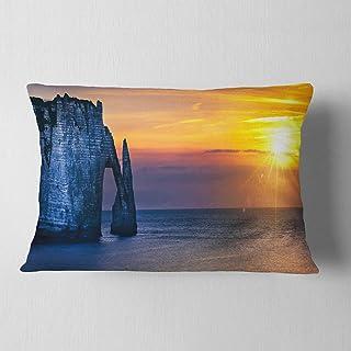 "Designart Etretat Cliff Normandy Panorama' Seashore Throw Lumbar Cushion Pillow Cover for Living Room, Sofa 12"" x 20"""
