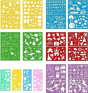 Lot de 24 pochoirs pour dessin et peinture, loisirs créatifs, pochoir pour agenda, scrapbooking, lettres et lettres en pla...