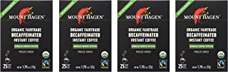 Mount Hagen Organic Instant Decaffeinated Coffee, 25-Count Single Serve Sticks (Pack of 4)