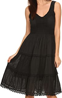 Presta Roman Sleeveless Lined Tank Top Dress with Emrboidery Lace Design