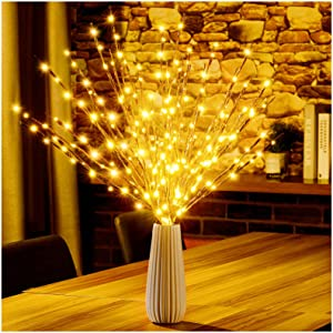 Lighted Twigs, Lighted Branches with 20 Bright Bulbs, Prelit Branches, Lighted Tree Branches Electric for Indoor, Prelit Branches for Home Romantic Decoration, 30 Inch (Warm White)