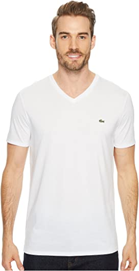 dbfcac51d3 Lacoste Short Sleeve Pima Jersey V-Neck T-Shirt at Zappos.com