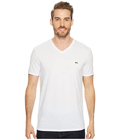 Lacoste Short Sleeve V-Neck Pima Jersey Tee (White) Men