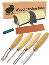 BeaverCraft, Wood Carving Chisel Set SC01 - Gouge Wood Carving Tools Kit in Rolling Pouch with Leather Strop Polishing Compound Kit - Radial Gouges Flat Chisel Bent Gouge (Chisel Set)