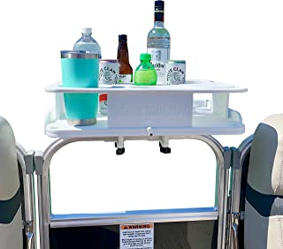 """Docktail Bar Pontoon Boat Cup Holders Table Accessory - These Boating Accessories Effortlessly Clamps on 1 1/4"""" Pontoon Rails - Holds Cups Bottles and Bowls for Snacks - Starboard Weatherproof"""
