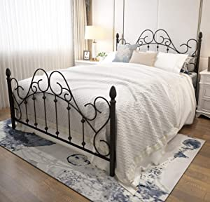 Black Queen Platform Metal Bed Frame with Headboard and Footboard,Vintage Victorian Style Mattress Foundation, No Box Spring Required, Black,Queen.