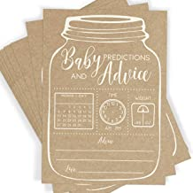 Baby Predictions and Advice, Set of 50 Cards, Rustic Mason Jar Baby Shower Game and Activity, Fun, Unique, and Easy to Play