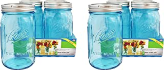 Ball Mason Jar-32 oz. Aqua Blue Glass Ball Collection Elite Color Series Wide Mouth-Set of 4 Jars (8)