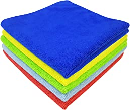 SOFTSPUN Microfiber Cloth - 5 pcs - 40x40 cms - 340 GSM Multicolor - Thick Lint & Streak-Free Multipurpose Cloths - Automotive Microfibre Towels for Car Bike Cleaning Polishing Washing & Detailing