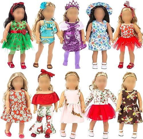 ZITA ELEMENT 23 PCS Poupées Vêtements et Accessoires pour Tenues de Poupées Américaines de 18 Pouces Inclus 10 Vêteme...