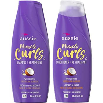 Amazon Com Aussie Miracle Curls Shampoo And Conditioner Set With Coconut Australian Jojoba Oil 12 1 Fl Oz Each Beauty