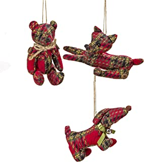 WHW Whole House Worlds Rustic Tartan Animals, Set of 3, Dachshund Dog, Teddy Bear and Fox, Red Plaid, Jute Twine Hanging Cord, 7.75 Inches