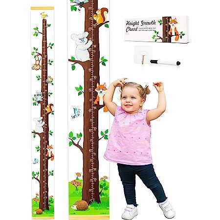 Kids Growth Chart,Measuring Height Chart 79 x 7.9 Animal Wall Hanging Height Growth Chart for Kids Room Nursery Decor