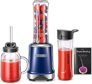 comprar comparacion AICOOK batidora de vaso multifunción, mini licuadora 2 en 1 con la taza Mason de 600 ml y la tetera deportiva de 600 ml, s...