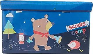 Bieco 90000450 Pfadfinder Camp - Taburete con espacio de almacenamiento y tapa acolchados (66 L), color azul