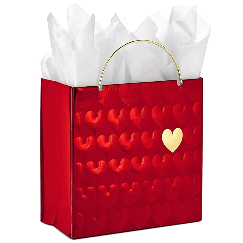 Hallmark Signature Small Valentine's Day Gift Bag with Tissue Paper (Red Hearts) - 5VXS1736