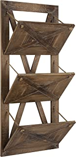 Kate and Laurel Hardeman 3 Pocket Farmhouse Wood Hanging Wall File Holder, Rustic Brown
