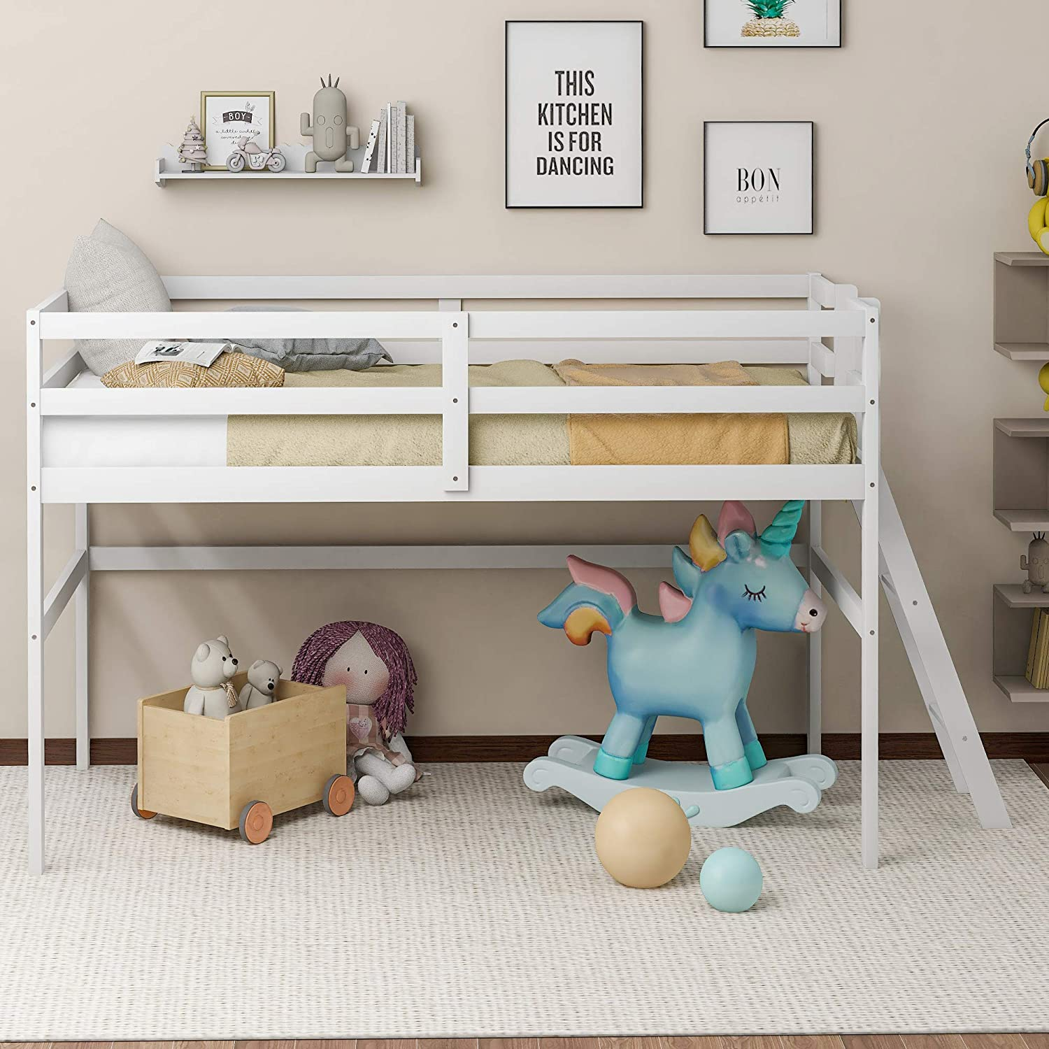 Merax Twin Size Wood Loft Milwaukee Mall Bed Frame Low Junior Ranking TOP3 for Kids