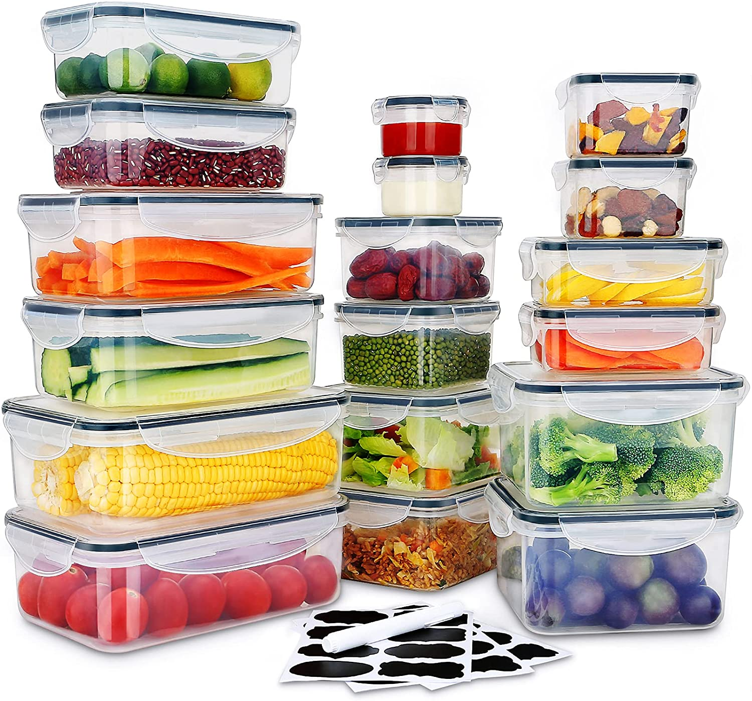 36 PCS Food Storage Containers, Stackable Plastic Containers with Lids - 100% Airtight & BPA-Free & Microwave, Dishwasher Safe Food Storage with Chalkboard Labels & Marker