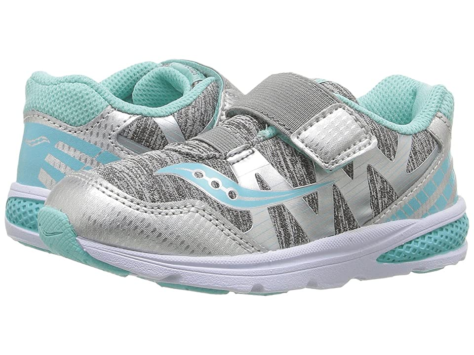 Saucony Kids Ride Pro (Toddler/Little Kid) (Grey Heather/Turquoise) Girls Shoes