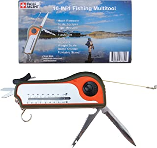 Fisherman Gift Tool Fishing Multitool - Hook Remover, Scale Scraper, Tape Measure, Bait Cutter, Flashlight, Knife, Scissors, Weight Scale, Bottle Opener, Gift Idea for Men Women Kids